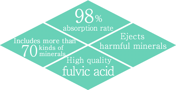 98% absorption rate, Includes more than 70 kinds of minerals, Ejects harmful minerals, High quality fulvic acid